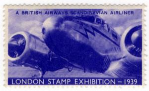 (I.B) Cinderella : Harrison & Sons - Stamp Exhibition 1939 (Airliner)