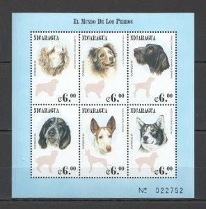 PK013 NICARAGUA ANIMALS DOGS EL MUNDO DE LOS PERROS KB MNH STAMPS