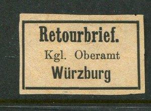 Germany Retourbrief Wurzburg Return Letter Label