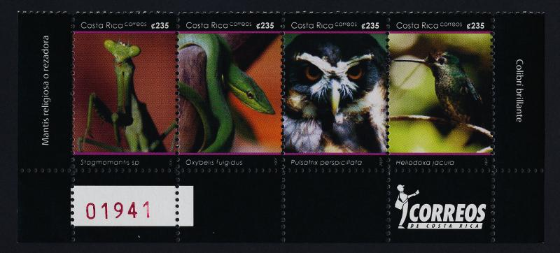 Costa Rica 609 Bottom Strip MNH Birds, Insects Snake, National Park