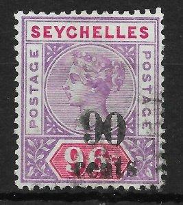 SEYCHELLES SG21 1893 90c ON 96c MAUVE & CARMINE USED
