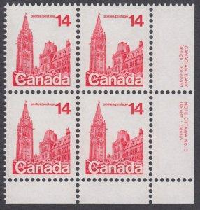 Canada - #715 Parliament Buildings Plate Block #3 - MNH