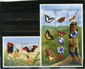 ANTIGUA & BARBUDA 1997 BUTTERFLIES SHEET OF 9 STAMPS & S/S MNH