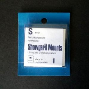 Showgard Stamp Mounts S 31 / 31 mm BLACK Background Pack of 40