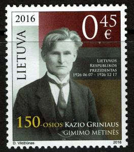 Lithuania #1086 MNH - Kazys Grinius (2016)