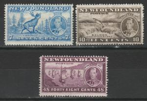 NEWFOUNDLAND 1937 KGVI ADDITIONAL CORONATION 7C 10C AND 48C PERF 13.5
