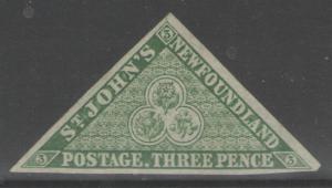 NEWFOUNDLAND SG11 1860 3d GREEN MTD MINT
