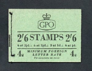 2/6 BOOKLET NOVEMBER 1953 (PPR 17mm) SG F9 Cat £60