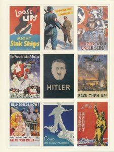 Stamp US Sheet WWII Poster Collectors Labels Hitler Greece Ships MNH