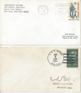 US Naval Cover USS Affray  MSO 511  1961, 1968