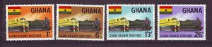 J24425 JLstamps 1963 ghana mnh set #156-9 train railroad