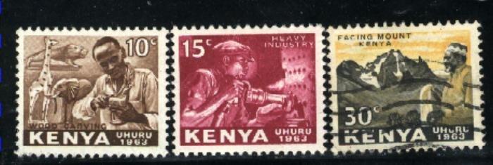 Kenya 2,3,5 Mint VF 1963 PD