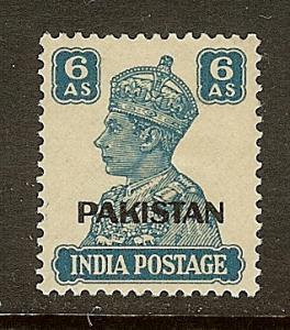 Pakistan, Scott #10, 6a King George VI Overprint, MH