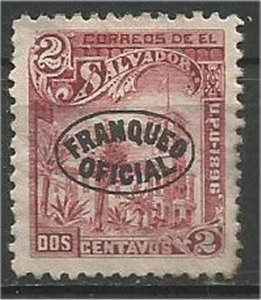 EL SALVADOR, 1896, MH 2c, Overprint Scott O26