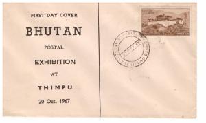 BHUTAN 1967 Postal Exhibition FDC