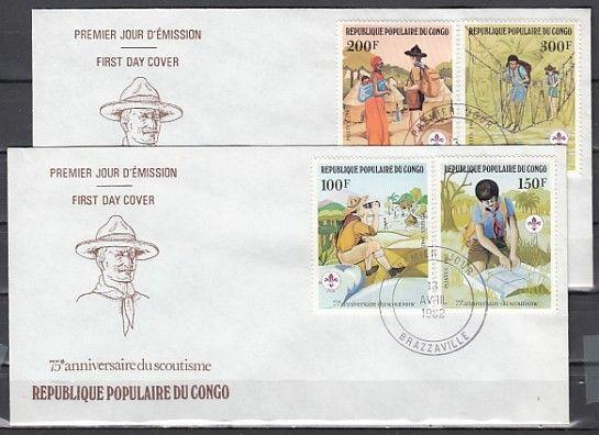 // Congo, Rep. Scott cat. 631-634. 75th Anniv. Scouting issue. First day covers.