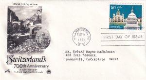 1991, 700th Anniv. Switzerland, Art Craft/PCS, FDC (E12214)
