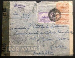 1943 Montevideo Uruguay Dual Censored Airmail cover To London England Via NY