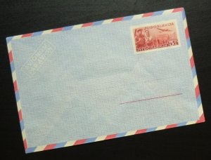 Yugoslavia c1950 Unused Airmail Postal Stationery Envelope - 5 Dinars R! A2