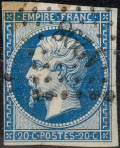 FRANCE - Yv.14B 20c bleu T.II - Obl. PC1298 (Foix-s-Ariège) - 3 marges