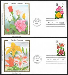 UNITED STATES FDCs (5) 29¢ Garden Flowers 1994 Colorano