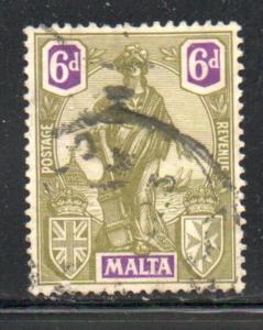 Malta Sc 108 1922 6d Malta stamp used
