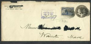 $US Sc#233 on U351 P/S cover Boston MA Registered Aug. 3, 1893