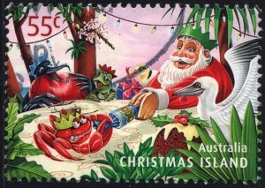 Christmas Island: SC#497 55¢ Santa Claus Pulling Cracker with Red Crab Used