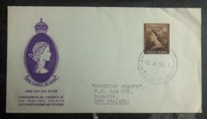 1953 Tokelau Island First Day Cover QE II Queen Elizabeth coronation FDC To NZ