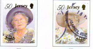 Jersey  Sc 962-3 2000 Queen Mother 100th Birthday stamp set used