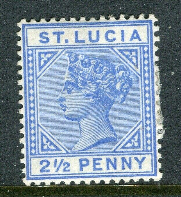 ST.LUCIA; 1880s early QV Crown CA issue Mint hinged 2.5d. value, Shade