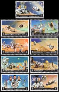 Ajman Mi #1254A-1262A set/9 mnh - 1972 space - Apollo 15, Scott, Worden, Irwin
