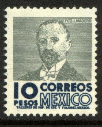 MEXICO 930a, $10Pesos 1950 Def 4th Issue WMK 300 MINT, NH. F-VF.