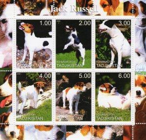 Tadjikistan 2000  DOGS JACK RUSSELL Sheetlet (6) MNH