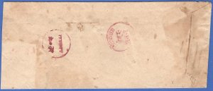 INDIA INDORE Stampless cover with two magenta red cancels on reverse