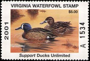VIRGINIA #14 2001 A PREFIX  STATE DUCK BLUE WINGED TEAL by Tim Donovan