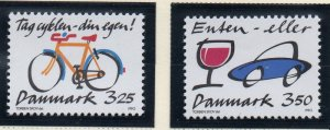 Denmark  Scott 930-1 1990 Drunk Driving Bicycle Safety stamp set mint NH