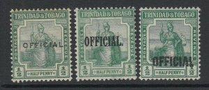 Trinidad & Tobago, Scott O1, O3, O5, MHR