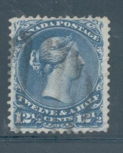 Canada Sc 28 1868 12 1/2c blue large Victoria stamp used