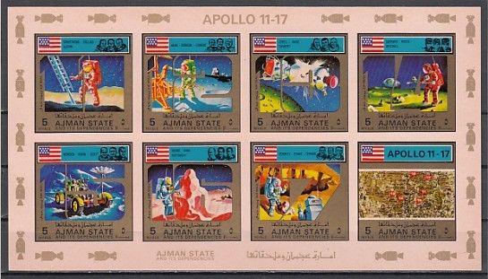 Ajman, Mi cat. 2669-2676 B. Apollo 11-17, Space IMPERF Pink sheet