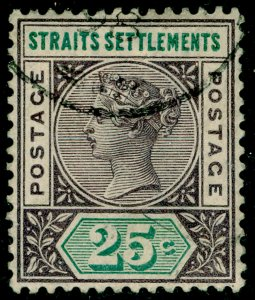 MALAYSIA - Straits Settlements SG103, 25c purple-brown & green, FINE USED.