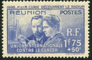 REUNION Sc#B4 1938 Curie Issue Complete OG Mint Hinged