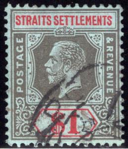 124 Straits Settlements,$1 Blk & red, bl, 1911, Used, Singapore postal cancel