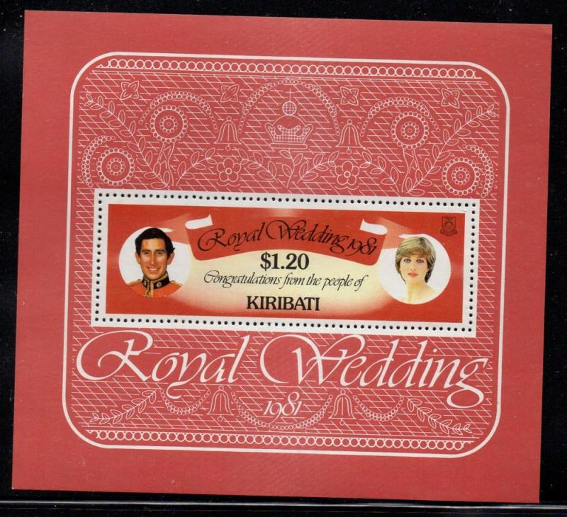 Kiribati Sc 379 1981 Royal Wedding stamp sheet mint NH