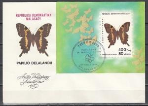 Malagasy Rep., Scott cat. 703. Butterfly s/sheet on a First day cover.