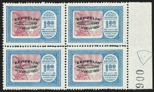 MOMEN: ARGENTINA SC #C29 GREEN OVPT BLOCK 1930 MINT OG NH LOT #60279