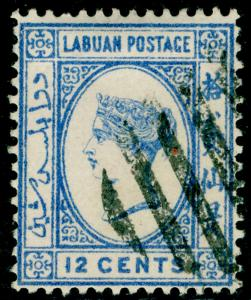 LABUAN SG55, 12c pale blue, FINE USED.