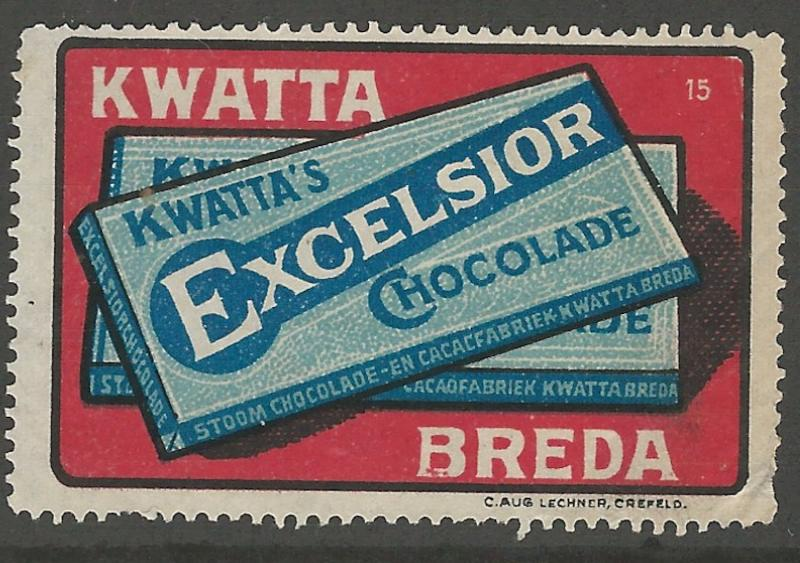 Kwatta's Excelsior Chocolate, Early Netherlands Poster Stamp, Cinderella Label