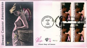 Rare Pugh Designed FDC Plate Block Breast Cancer Awareness...Only 14 created!