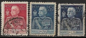1925-6 Italy 175-7 25 th Anniversary of King Emmanuel Reign C/S of 3 used